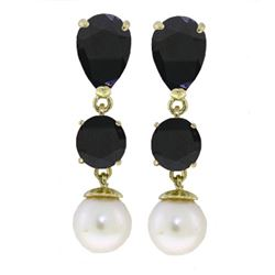 ALARRI 10.1 CTW 14K Solid Gold Chandelier Earrings Sapphire Pearl