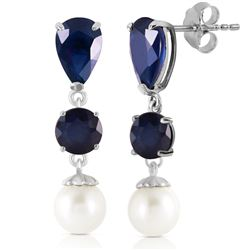 ALARRI 10.1 Carat 14K Solid White Gold Chandelier Earrings Sapphire Pearl