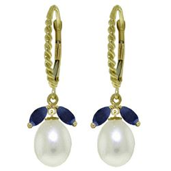 ALARRI 9 Carat 14K Solid Gold Leverback Earrings Sapphire Pearl