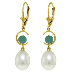 ALARRI 9 Carat 14K Solid Gold Moonstruck Emerald Pearl Earrings