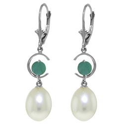 ALARRI 9 CTW 14K Solid White Gold Attributes Emerald Pearl Earrings