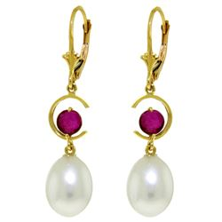 ALARRI 9 Carat 14K Solid Gold Moonstruck Ruby Pearl Earrings