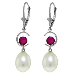 ALARRI 9 Carat 14K Solid White Gold Born To Just Be Ruby Pearl Earrings