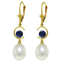 ALARRI 9 Carat 14K Solid Gold Moonstruck Sapphire Pearl Earrings