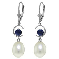 ALARRI 9 CTW 14K Solid White Gold Getting Along Sapphire Pearl Earrings