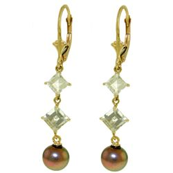 ALARRI 6.5 Carat 14K Solid Gold Chandelier Earrings Aquamarine Pearl