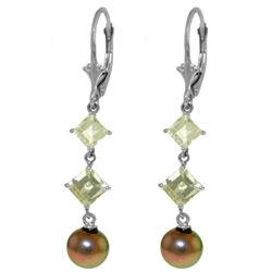 ALARRI 6.5 Carat 14K Solid White Gold Chandelier Earrings Aquamarine Pearl