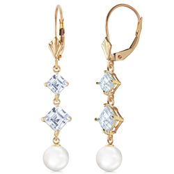 ALARRI 6.5 Carat 14K Solid Gold Classic Aquamarine Pearl Earrings