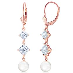 ALARRI 14K Solid Rose Gold Chandelier Earrings w/ Aquamarines & Pearls