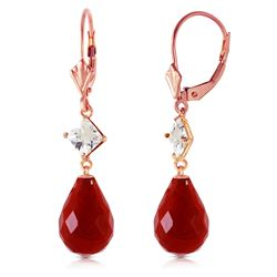 ALARRI 14K Solid Rose Gold Leverback Earrings w/ Rose Topaz & Rubies