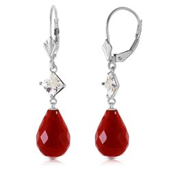 ALARRI 18.6 CTW 14K Solid White Gold Leverback Earrings White Topaz Ruby
