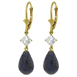 ALARRI 18.6 CTW 14K Solid Gold Leverback Earrings White Topaz Sapphire