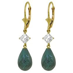 ALARRI 18.6 CTW 14K Solid Gold Leverback Earrings White Topaz Emerald