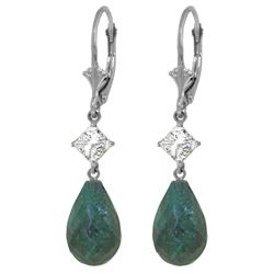 ALARRI 18.6 CTW 14K Solid White Gold Leverback Earrings White Topaz Emerald