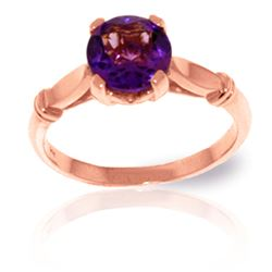 ALARRI 1.15 Carat 14K Solid Rose Gold Solitaire Ring Purple Amethyst