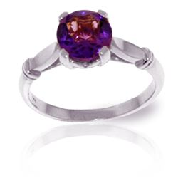 ALARRI 1.15 CTW 14K Solid White Gold Solitaire Ring Purple Amethyst