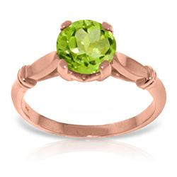 ALARRI 14K Solid Rose Gold Solitaire Ring w/ Natural Peridot