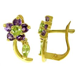 ALARRI 1.72 Carat 14K Solid Gold Flora Amethyst Peridot Clip Earrings