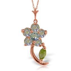 ALARRI 0.87 Carat 14K Solid Rose Gold Flower Stem Aquamarine Peridot Necklace