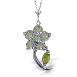 ALARRI 0.87 CTW 14K Solid White Gold Flattery Aquamarine Peridot Necklace