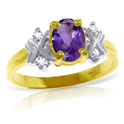 ALARRI 0.97 Carat 14K Solid Gold Dances Babes Purple Amethyst Diamond Ring