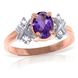 ALARRI 0.97 Carat 14K Solid Rose Gold Xo Amethyst Diamond Ring