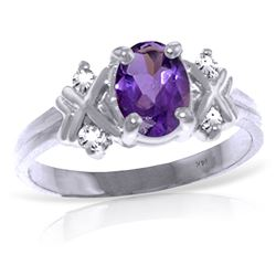 ALARRI 0.97 Carat 14K Solid White Gold I Feel Loved Amethyst Diamond Ring