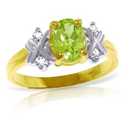 ALARRI 0.97 CTW 14K Solid Gold Stirring Feelings Peridot Diamond Ring