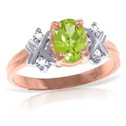 ALARRI 0.97 Carat 14K Solid Rose Gold Xo Peridot Diamond Ring