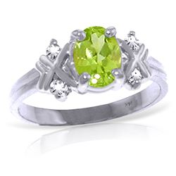 ALARRI 0.97 CTW 14K Solid White Gold Near You Always Peridot Diamond Ring