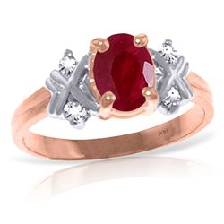 ALARRI 1.47 Carat 14K Solid Rose Gold Ring Diamond Ruby