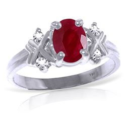 ALARRI 1.47 Carat 14K Solid White Gold Ring Diamond Ruby