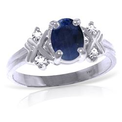 ALARRI 1.47 Carat 14K Solid White Gold Libre Sapphire Diamond Ring