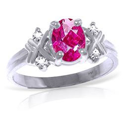 ALARRI 0.97 Carat 14K Solid White Gold I Dreamt You Pink Topaz Diamond Ring