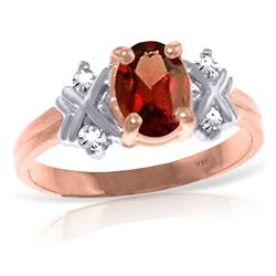 ALARRI 0.97 CTW 14K Solid Rose Gold Xo Garnet Diamond Ring