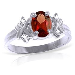 ALARRI 0.97 CTW 14K Solid White Gold Hello You Garnet Diamond Ring