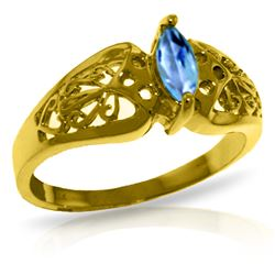 ALARRI 0.2 Carat 14K Solid Gold Lily Blue Topaz Ring