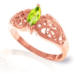 ALARRI 0.2 Carat 14K Solid Rose Gold Filigree Ring Natural Peridot