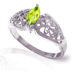ALARRI 0.2 Carat 14K Solid White Gold In My Imagination Peridot Ring
