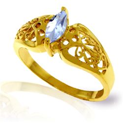 ALARRI 0.2 Carat 14K Solid Gold Lily Aquamarine Ring