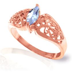 ALARRI 0.2 Carat 14K Solid Rose Gold Filigree Ring Natural Aquamarine
