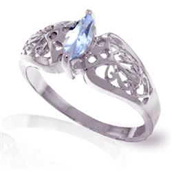 ALARRI 0.2 Carat 14K Solid White Gold Fierce Declaration Aquamarine Ring