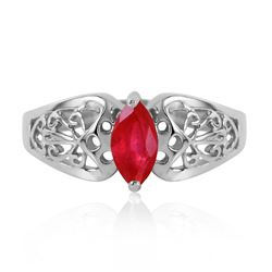 ALARRI 0.2 Carat 14K Solid White Gold Inseparable Ruby Ring