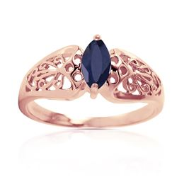 ALARRI 0.2 Carat 14K Solid Rose Gold Filigree Ring Natural Sapphire
