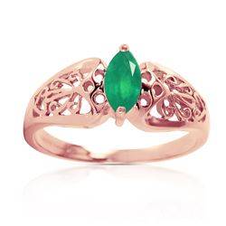 ALARRI 0.2 Carat 14K Solid Rose Gold Filigree Ring Natural Emerald