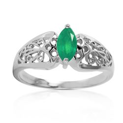 ALARRI 0.2 Carat 14K Solid White Gold Sailing In The Wind Emerald Ring