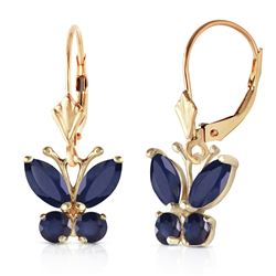 ALARRI 1.24 Carat 14K Solid Gold Butterfly Earrings Sapphire