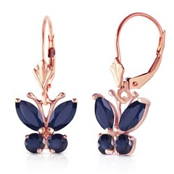 ALARRI 1.24 Carat 14K Solid Rose Gold Butterfly Earrings Sapphire