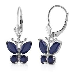 ALARRI 1.24 Carat 14K Solid White Gold Butterfly Earrings Sapphire