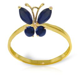 ALARRI 0.6 Carat 14K Solid Gold Butterfly Ring Natural Sapphire